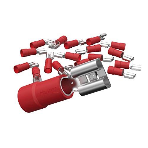 AUPROTEC 25x Flachsteckhülsen 0,5-1,5 mm² rot/Steckbreite 6,3 mm Teilisoliert PVC weiblicher Steckverbinder FDD Kabel Verbinder aus Messing verzinnt