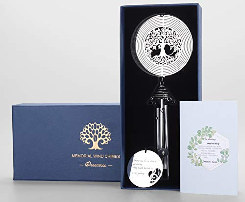 Sympathy Wind Chimes with Life Tree Wind Spinner - Memorial Wind Chimes for Loss of Loved One - Ideal Sympathy Gift, Memorial Gifts, Bereavement Gifts