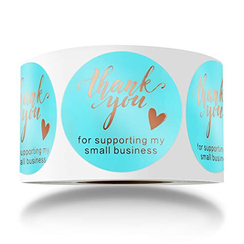 BOOMLONGDA 1.5 Inch Thank You for Supporting My Small Business Stickers, Rose Gold Foil Sticker, Round Labels for Business, Online Retailers to Use on Bags, Boxes and Envelope, 500 Labels Per Roll