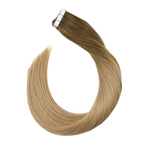 Ugeat 35 cm Ombre Glue in Extension Cheveux Naturelles Bande Adhesive Remy Hair Brun Clair #8 a Blond Fonce #16 Seamless Ruban Adhesif Cheveux Lisse Droit 50 Gramme 20 Piece