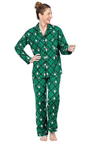 Image of Button Style PajamaGram Flannel Snowman Christmas Pajamas for Women