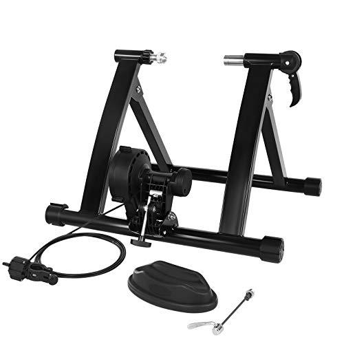SONGMICS Entraîneur de vélo, Home trainer bicyclette, freinage magnétique, avec roue de réduction du bruit, poignée à dégagement rapide, Noir SBT003B01