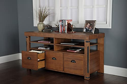 """American Furniture Classics Industrial Credenza Console with 3 File Drawers, 60"""", Hewn Pallet"""