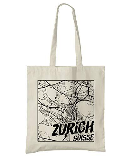 Super Cool Totes Zürich, Schweiz, Stadtplan Einkaufstasche (Design 3)