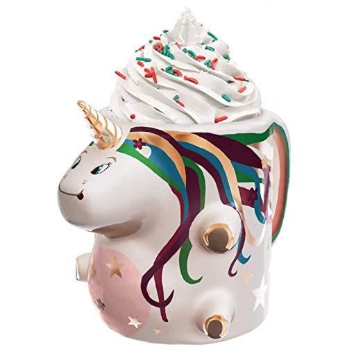 Ceramic Unicorn Coffee Mug w/Rainbow by Comfify - Sweet & Fantastical 3D Unicorn Design w/Magical Rainbow - Unique & Creative Mug for Coffee, Tea & Hot Cocoa - Perfect Gift for Unicorn Lovers