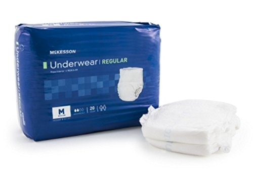 McKesson Disposable Adult Absorbent Underwear, Regular Pull On, Size Medium, Moderate Absorbency. 1 Package containing 4 packs of 20 diapers each. 80 Total.