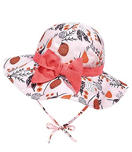 Bebé Niña Niño Sombrero de Sol Verano Algodón Pescador Gorra de Sol ala Ancha Ajustable Sombrero Protección Solar 50+ UPF with Adjustable Strap for Baby