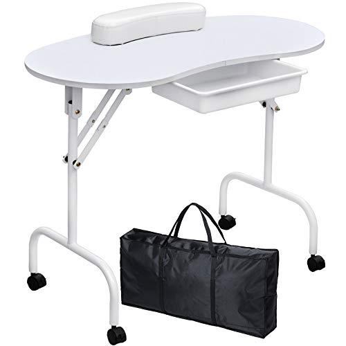 Kalolary Mesa de Manicura Plegable Mesa de Estación de Uñas de Belleza Portátil con Rodillo, Retirable, con Reposamuñecas de Esponja, Bolso (blanco)