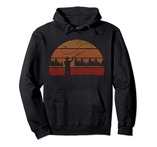Fly Fishing Vintage Retro Trout Salmon Fisherman Gift Pullover Hoodie