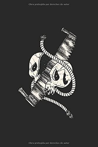 Cráneo de leñador trabajador forestal con sierra: Leñador a la muerte cráneo madera sierra regalos cuaderno cuadrícula de puntos punteados (formato A5, 15,24 x 22,86 cm, 120 páginas)