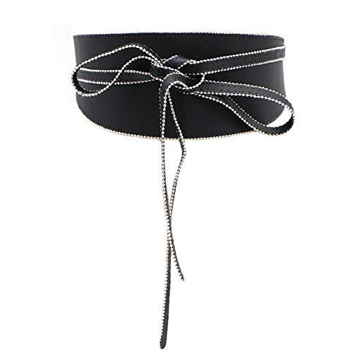 Unisex riem metalen kralen dubbele ring taille meisjesboog decoratie brede riem grootte 80-100cm zwart