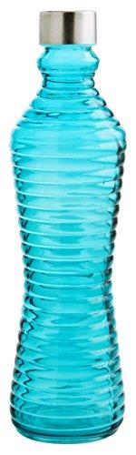 Quid 7522007 – Bouteille 1L avec Couvercle Line Bleu, Couleur Bleu, 8.5 x 8.5 x 31 cm