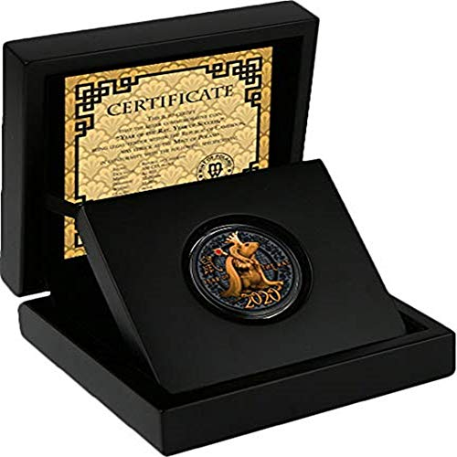 KNDJSPR Año de la Moneda Conmemorativa, 2020, Serie Zodiac de Monedas de Plata chapadas en Oro con Incrustaciones de Cristal, 500 francos, con Certificado y Caja de Regalo, Herencia
