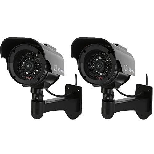 NONMON Cámara Falsa,2Pcs Dummy Cámara de Vigilancia Simulada con Energía Solar,LED Parpadeante Sistema CCTV Imitación,Seguridad Supervisión Protección para Interior Exterior Hogar Oficina