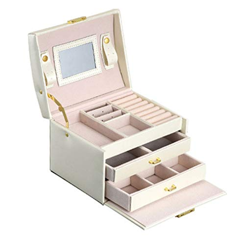 rongweiwang Unique Pattern Display Jewelry Box PU Leather Drizzle Grain Organizer Holder Drawers Storage Case Keeper