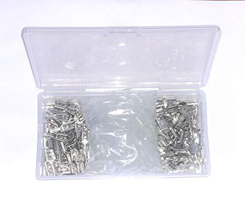 Movilideas - Caja con 100 terminales faston de 6.3 mm (50 machos y 50 hembras) y 100 fundas de goma Terminales para crimpar