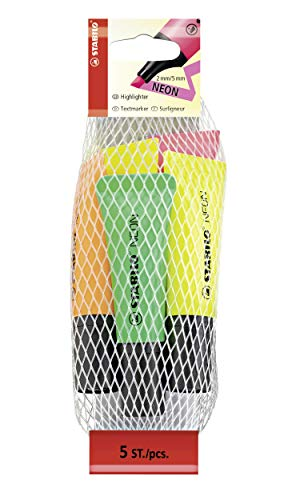 Marcador fluorescente STABILO NEON - Cuerpo semiblando - Malla con 5 colores ⭐