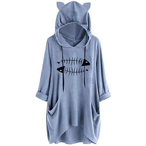 AMhomely vestido de mujer casual con impresión de abeja de gato con capucha, manga larga, vestido de bolsillo, para fiesta de Halloween, Navidad, talla S - 5XL Negro Azul 1 XXXL