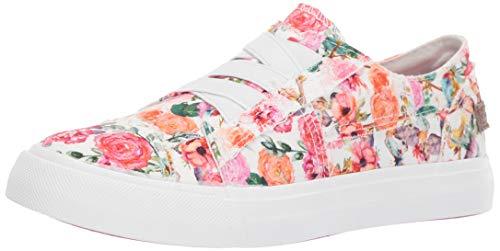Blowfish Malibu girls Marley-k Sneaker, Off White Flowerfest Print Canvas, 5 Big Kid US