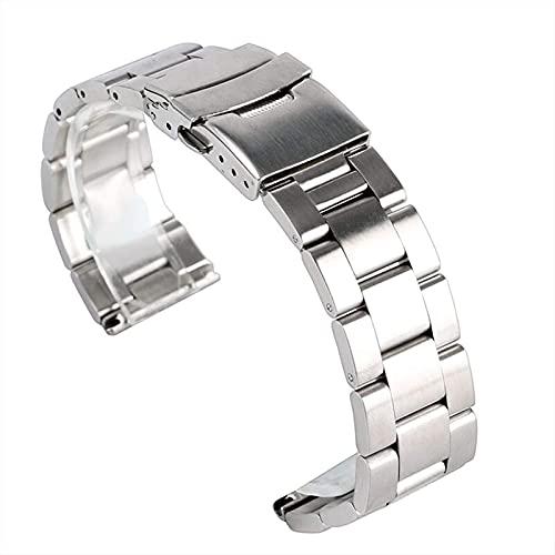 chenghuax Reloj Correa, 20 / 22mm Correa de Plata Strap de reemplazo Cadena sólida Acero Inoxidable + 2 Barras de Primavera Pulsera (Color : -, Size : 22mm)