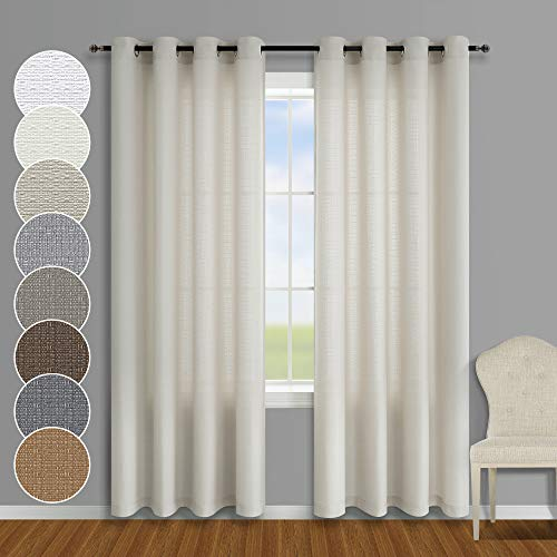 Beige Curtains 84 Inches Long for Living Room 2 Panels Grommet Natural Color Neutral Farmhouse Semi Sheer Faux Linen Cotton Curtains for Bedroom Cream Greyish Beige 52 x 84 Inch Length