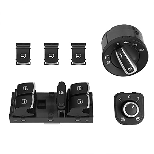 NsbsXs para VW Passat CC 6Pcs Faro de Coche eléctrico Espejo retrovisor Control de botón de Interruptor de Ventana eléctrica