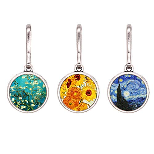 HEYGOO Classic Replacement Zipper Pull, Abstract Oil Painting Jewelry Charms, Pack of 3