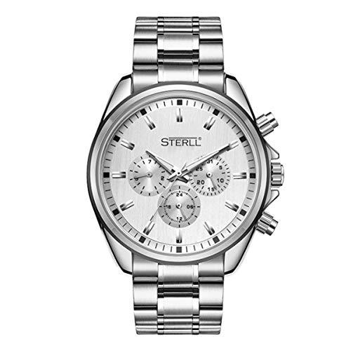 STERLL Herren Armbanduhr Quarz Uhr Chronograph mit Stoppuhr und Kalender Saphirglas Kratzfest Panzerglas Silber Verstellbare Länge Geschenkverpackung Geschenk für Männer