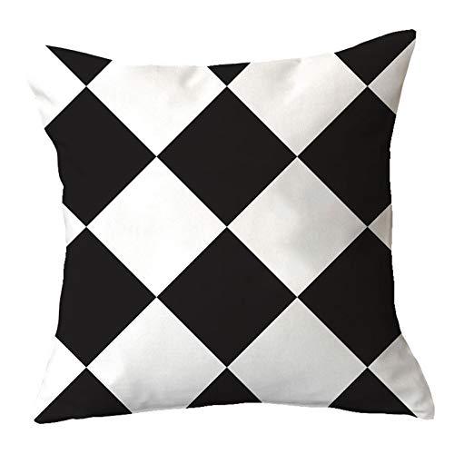 Hogar dormitorio sofá decoración de la oficina funda de almohada de cintura, funda de almohada de la serie en blanco y negro simple y de moda, funda de almohada cuadrada universal suave y cómoda