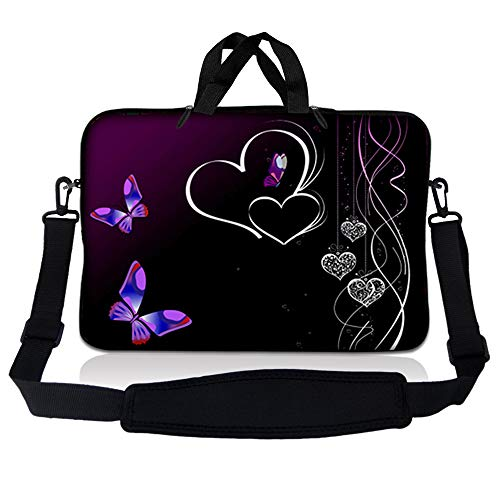 LSS 17 inch Laptop Sleeve Bag Carrying Case Pouch w/Handle & Adjustable Shoulder Strap for 17.4' 17.3' 17' 16' Apple Macbook, GW, Acer, Asus, Dell, Hp, Sony, Toshiba, Butterfly Heart Floral