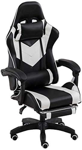 WSDSX Office Chairs Massage Gaming Chair with Footrest,Ergonomic Adjustable Swivel Reclining Executive Racing Office Chair with Lumbar Support Headrest Armrest High Back Computer Chair (