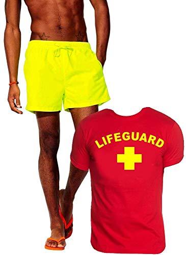 Lifeguard Schwimmboje Kostüm Rettungsschwimmer 2 teilig Set T-Shirt Rot + Badehose Neongelb Gr.XL