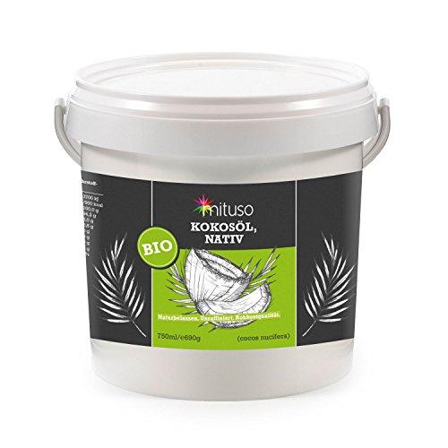 mituso Bio olio di cocco, 100% nativo e pressato a freddo, confezione da 1 (1 x 750 ml) in secchiello