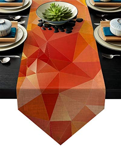 Dining Table Runner Orange Geometric Shapes with Triangular Creative Artistic Kitchen Table product image