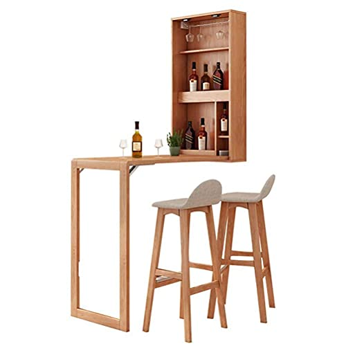 FFYN Folding Table and 2 Chairs, Wall Mounted Wood Desk with Wine Cabinet and Artboard, Heavy Load Wall Desk, Stable and Easy to Install, Space Saving