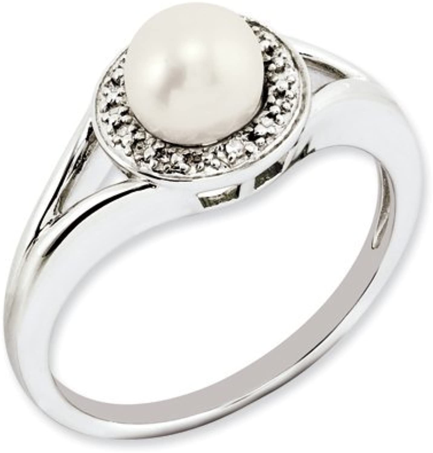 colord Gemstones Sterling Silver Diamond & Pearl Ring