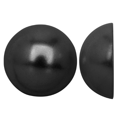 Beadaholique Acrylic Faux Pearl Flatback Cabochons 20mm - Pearlized Jet Hematite (6)