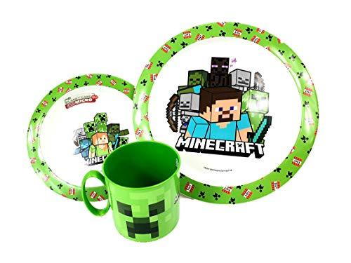 Javoli Passend zu Minecraft: Creeper Steve Geschirr Set Becher Müslischale