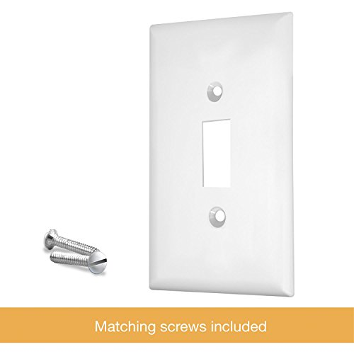 """ENERLITES Toggle Light Switch Wall Plate, Size 1-Gang 4.50"""" x 2.76"""", Unbreakable Polycarbonate Thermoplastic, 8811-W, White"""