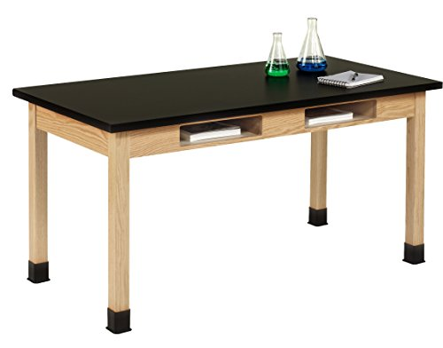 Diversified Woodcrafts C7142K30N UV Finish Solid Oak Wood Table with Book Compartment and ChemGuard Top, 60