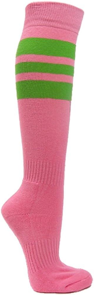 Pink Breast Cancer Awareness 3 Max 84% OFF Socks Stripes Knee in Nashville-Davidson Mall High