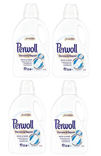 Perwoll Renew und Repair Weiß und Faser Feinwaschmittel, 96 (4 x 24) Waschladungen, für weiße Wäsche
