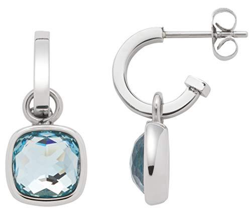 Jewels by Leonardo Damen-Kreole Cuscino, Edelstahl mit Anhängern mit facettierten blauen Glassteinen, Größe (B/H/T): 10/23/16mm, 016573