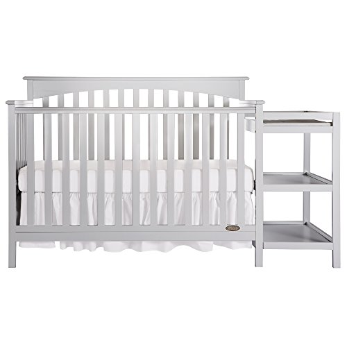 Dream On Me Chloe 5-in-1 Convertible Crib and Changer, Grey, Full Size