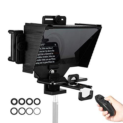 TC3 Téléprompteur avec télécommande Anneaux adaptateurs dobjectif compatibles avec tablettes et caméras de Smartphone pour la Diffusion en Direct de la Parole et de lenregistrement vidéo