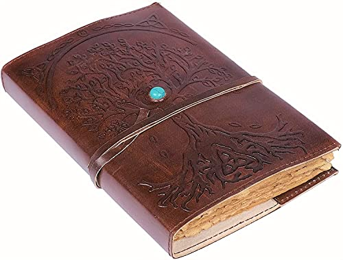 Leather Journal (8 inch by 6 inch ) Refillable Vintage Deckle Edge Paper Tree of Life Leather Writing Notebook Diary Bound Daily Notepad for Gift for Artist Sketchbook For Women (BROWN)