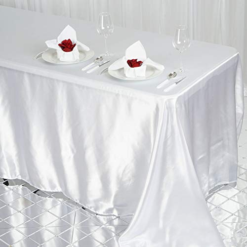 Efavormart 90x132 Rectangle White Wholesale Satin Tablecloth Banquet Linen Wedding Party Restaurant Tablecloth