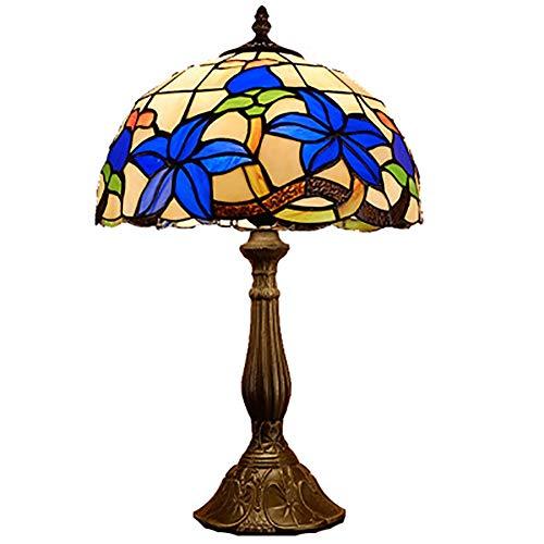 Lámpara de Mesa y mesilla de Noche Tiffany lámpara, mesita de Noche, American Country Personalidad Creativa Azul Gardenia lámpara Decorativa for Sala de Estar y Dormitorio de café