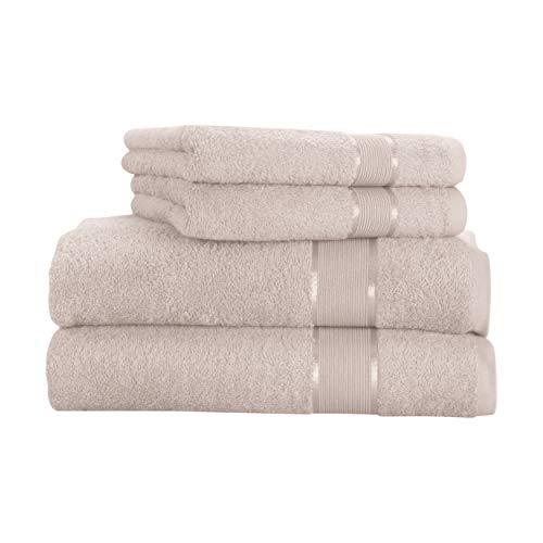 Mixibaby - Juego de toallas (4 unidades) 2 toallas de mano de 50 x 100 cm, 2 toallas de baño de 100 x 150 cm, 100% algodón, 100% algodón, beige, 100 x 160 cm