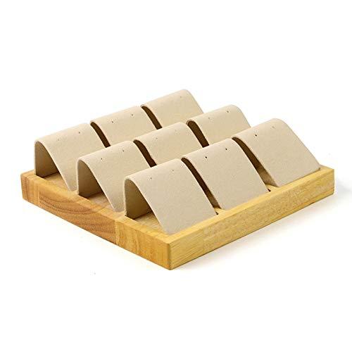 CHQY Expositor de pendientes, bandeja de almacenamiento de joyas de madera maciza de 9 rejillas, soporte desmontable para mostrador (blanco crema, cuadrado) beige